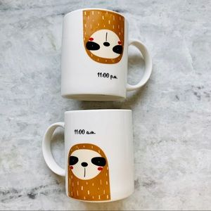 Onebottle Sloth 11am 11 PM Ceramic Coffee Cups Set